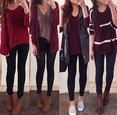 burgundy-fall-outfit-ideas- Super cute winter outfits for girls