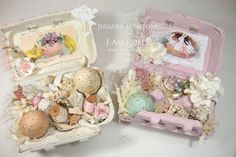 So I am getting ready to make some Easter gifts and thought I could recycle regular egg boxes and create some Shabby. Hoppy Easter, Easter Gift, Easter Egg Crafts, Easter Eggs, Egg Carton Crafts, Shabby Chic Crafts, Easter Parade, Egg Decorating, Vintage Easter