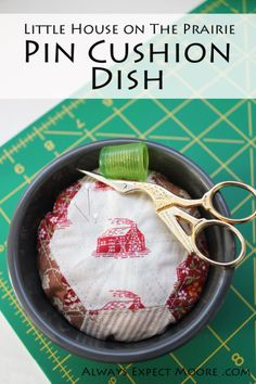 Make this simple English Paper Pieced pincushion dish to hold your sewing notions.