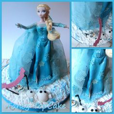 Elsa disney Frozen Doll cake,Except for the doll, evrythins  is edible including Elsa's cape made with Gelatin and lace mat.Fancy TopCake