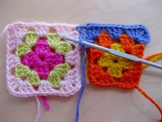 joining granny squares as you go.