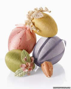 Thread-Wrapped Egg Ornaments    Wrap Styrofoam eggs -- ranging in size from one to three inches tall -- in perle cotton thread and embellish them with dainty vintage millinery flowers, ribbons, and decorative trim.