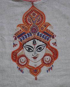On this auspicious first day of Navratri, shows us how to make a beautiful Durga painted creation! Thank you for sharing this elegant creation with us. Durga Maa Paintings, Durga Painting, Lord Ganesha Paintings, Kerala Mural Painting, Indian Art Paintings, Madhubani Art, Madhubani Painting, Fabric Painting, Fabric Art