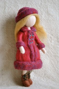 Waldorf inspired needle felted doll : The girl in the red