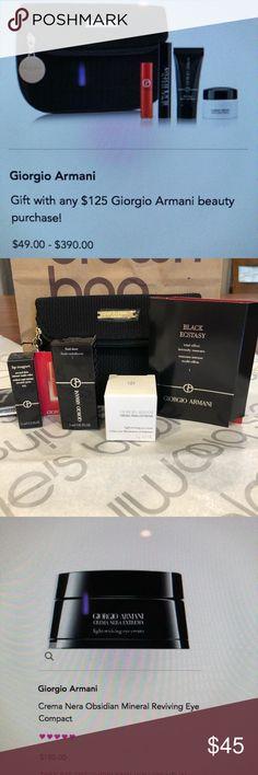 Giorgio Armani Bag & Skin Care (New) Giorgio Armani Clutch/Cosmetic Bag & Skin Care (New/Unused/Unopened) Miniatures/Samples Featuring the Products Shown in Pictures. Includes: Giorgio Armani Bag, Crema Nera Extrema Eye Cream (5g), Black Ecstasy Mascara (2ml), Lip Magnet in 400 (1.5ml), Fluid Sheer in 7 (5ml) Giorgio Armani Makeup