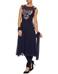 Raishma. Navy and multi colour churidar suit - A pretty anarkali dress with multi colour thread embroidery and sheer net panel on the neckline. Wear with contrast pink blazer and wedge heels. Comes with churidar and stole if you want to wear it as an Indian dress churidar outfit.