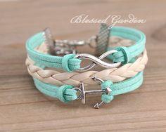 mint green bracelet, mint green leather , infinity bracelet,anchor bracelet, infinity love,  bridesmaid bracelet, friendship  christmas gift