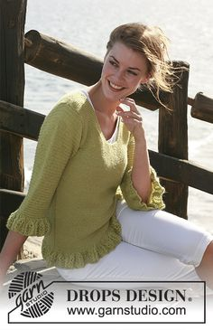 """DROPS jumper in garter st in """"Alpaca"""" with patterned flounce borders and ¾-sleeves. Size: S to XXXL ~ DROPS Design Drops Design, Knitted Baby Cardigan, Knitted Coat, Sweater Knitting Patterns, Free Knitting, Jumpers For Women, Pulls, Knit Crochet, Ladies Knitwear"""