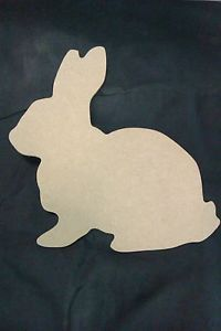 RABBIT, BUNNY MDF CUTOUT PLAQUES, BLANKS - 3mm thick- 20cm x 21cm - PACK of 2 Cost €4.89 +  postage €10.86
