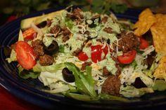 Taco Salad with Creamy Cilantro Dressing #salad #salad #mexicanrecipe