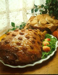Peach-Glazed Country Ham - Those raised on country-style or southern-style ham know its tangy, tasteful allure. This peach-glazed beauty would make a convert out of any Yankee. Country Ham, Country Style, Holiday Ham, Ham Glaze, How To Cook Pork, Ham Recipes, Recipe Details, Crock Pot Cooking, Learn To Cook