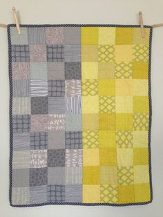 Modern Patchwork Baby Quilt - Yellow and Gray