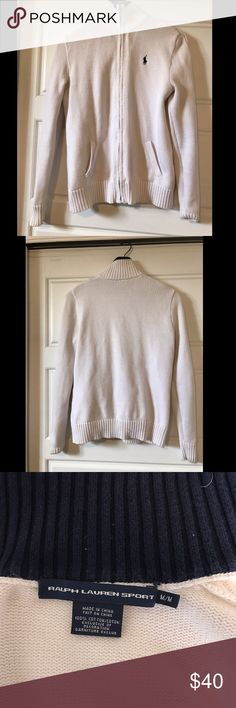 Cable-knit zip up Ralph Lauren white sweater Has some damage on right pocket. Otherwise, perfect. Only worn 4 times. Polo by Ralph Lauren Sweaters