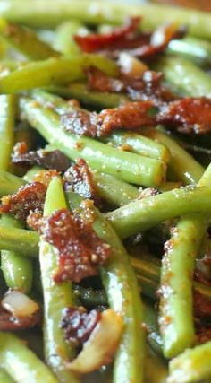 Sauteed Green Beans with Mustard and Bacon Glaze