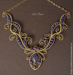 Wire wrapped necklace with lapis lazuli Wire Jewelry Making, Metal Jewelry, Beaded Jewelry, Handmade Jewelry, Wire Necklace, Wire Wrapped Necklace, Wire Wrapped Pendant, Necklaces, Jewelry Crafts