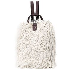 $24.78 PU Leather Panel Faux Fur Backpack - White