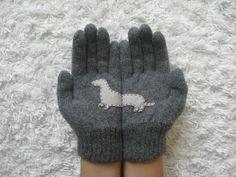 Dog Gloves Doxie Gloves Dachshund Dark Grey Gloves by yastikizi Dog Lover Gifts, Dog Gifts, Dog Lovers, Honda Shadow, Dog Milk, Grey Gloves, Dachshund Love, Daschund, Weenie Dogs