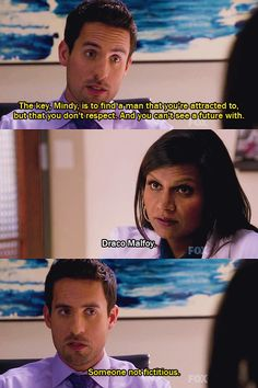 Mindy Lahiri is both extremely attracted to and well aware she wouldn't want to date Draco Malfoy. #TheMindyProject #HarryPotter #hilarious #truth