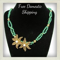 This #Handmade necklace of small twisted green beads with gold was done for the love of the beads.   They are a flat matte finish, and I just loved the way the gold strung t... #etsyshop #vintage #antiques #upcycled #handmade #4rloveofoldandnew ➡️ http://jto.li/xnMCb