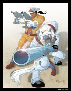 hope you guys remember bravestarr, another western sci-fi cartoon of the it´s an indian sherriff in a planet called new texas or something like that, with his horse who talks and have bionical. 80s Cartoon Shows, Cartoon Clip, Old School Cartoons, 90s Cartoons, Desenhos Hanna Barbera, 80s Characters, D Mark, Saturday Morning Cartoons, Comic Drawing