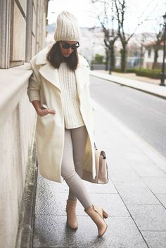 Wool Beanie With Sweater And Tan Jeans And Cream Peacoat fashion jeans style sweater fashion and style peacoat womens fashion women's fashion and style