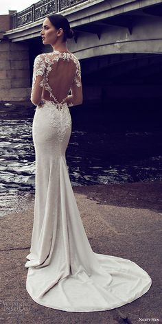 nurit hen 2016 bridal illusion long sleeves split sweetheart illusion bodice sheath wedding dress (07) mv sexy keyhole back medium train