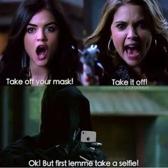 It's time to put the mysteries, puzzles and theories aside. If you feel emotionally tormented or confused AF after watching an episode of PLL, check out these Pretty Little Liars memes just for laughs… Pretty Little Liars Meme, Pretty Little Liars Theories, Pll Memes, Funny Memes, Hilarious Jokes, Pll Quotes, Selfie Quotes, Seinfeld, Gossip Girl