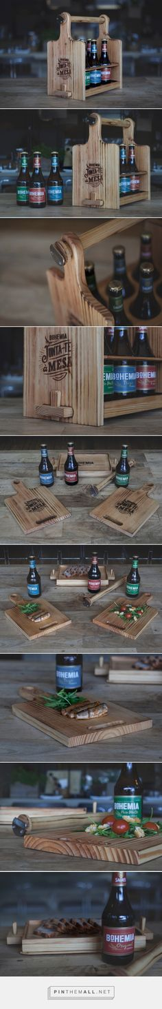 Handcrafted Bohemia Special Six Pack that transforms into a serving board | design by J. Walter Thompson Worldwide - http://www.packagingoftheworld.com/2017/03/bohemia-special-six-pack.html
