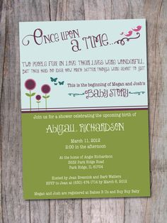 Storybook Baby Shower Invitation  Once Upon a Time by PinchOfSpice, $15.00