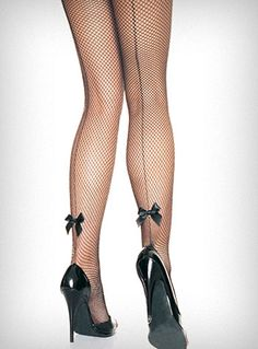 Back Seam Bow Fishnet Pantyhose  These retro fishnet pantyhose are straight out of a 1940's pin-up magazine! They feature a back seam with a little back satin bow at the back of each ankle. The perfect accessory for all of your favorite vintage dresses ♥  * 80% Nylon, 20% Spandex   * One size fits most (90 - 160 lbs)    $12.50