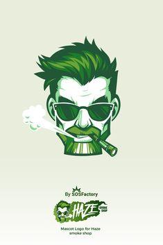 Freelancer illustrator, web and graphic designer for hire. Haze mascot logo for vaping Smoke Shop Vape Logo Design, Shirt Logo Design, Gfx Design, Icon Design, Graphic Design, Typography Logo, Art Logo, Smoke Logo, Doodle Drawing