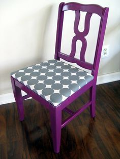 I like this chair, but Id paint it white and do a light green fabric to match the kitchen walls, if the dining room is in the kitchen. purple fabric and gray and white seat