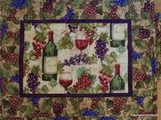 Quilted Place Mats Grapes and Wine Bottles  by PatsPassionQuilteds, $60.00