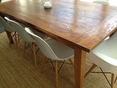 rustic table with Eames dining chairs