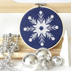 Snowflake Cross Stitch Modern Cross Stitch Pattern Instant Download PDF Ice Christmas Cross Stitch Chart Holiday DIY Christmas Festive Craft