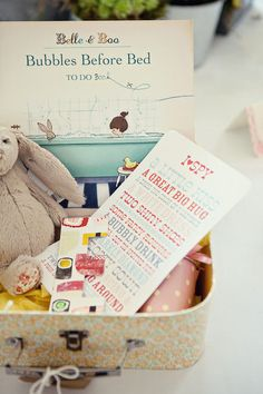 The thoughtful host includes a welcome kit for the children as well. Fun activity books, a stuffed animal, and a favorite story book all make a fabulous addition to this suitcase full of goodies!