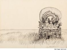 "original cover sketch for laura ingalls wilder's ""little house on the prairie"" by garth williams"