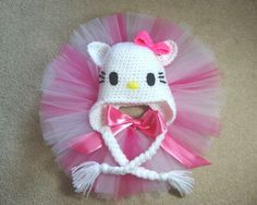 Hello Kitty hat and Tutu Set / Party / Photo Prop by LollyBopBaby, $35.00