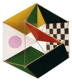 CHARLES & RAY EAMES, THE LITTLE TOY 1952: square and triangle pieces to build 3D geometric shapes.