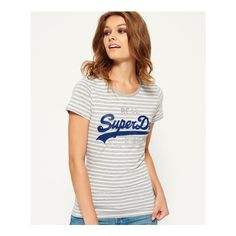 Superdry Vintage Logo Breton Stripe T-shirt ($32) ❤ liked on Polyvore featuring tops, t-shirts, light grey, vintage tees, crew neck tee, striped tee, crew neck t shirt and superdry t shirt