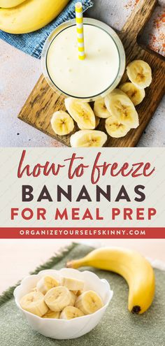 How To Freeze Bananas for Meal Prep | Meal Prep for Beginners - Wondering how to save and meal prep bananas before they get spoiled? Learn the best way to meal prep and freeze ripe bananas, with healthy bananas meal prep recipes that the whole family will love! Organize Yourself Skinny | Freezer Meal Tips | Banana Recipes | Meal Prep Tips #mealprep #freezermeal #cookingtips #healthyeating Budget Meal Prep, Easy Meal Prep, Healthy Meal Prep, Healthy Cooking, Healthy Eating, Clean Eating Recipes, Diet Recipes, Cooking Recipes, Skinny Recipes