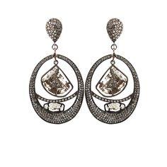 JORDAN ALEXANDER Pave Diamond Loop Earrings with Two Diamond Slices ($6,380.00)