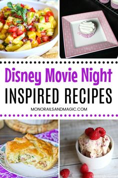 For your next family Disney movie night, try one of these fun recipes for an appetizer, entree, or dessert. There are so many yummy choices! Disney Themed Food, Disney Inspired Food, Disney Food, Disney Recipes, Disney Dishes, Night Food, Game Night, Dinner And A Movie, Fun Baking Recipes