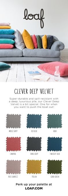 Super-durable and spill-resistant with a deep, luxurious pile, our Clever Deep Velvet is a bit special. One for when you want to push the boat out! Living Room Seating, Living Room Grey, Living Room Sofa, Living Room Furniture, Home Furniture, Furniture Sets, Luxury Sofa, Palette, Room Accessories