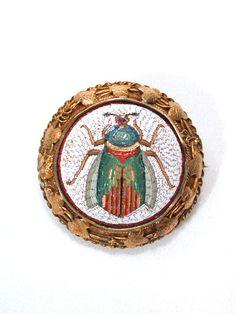 Mosaic beetle mirror-enamels of micro mosaic-red and black briare