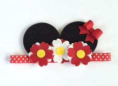 Mickey Headband Felt Flower Headband Felt by UponAStarBowtique