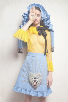 Featured in Harpers Bazaar Brazil, a Cruise 2017 jacket, bright yellow ruffled neck shirt and A-line skirt with polar bear patch. Photographer: Verena Smit Stylist: Patricia Carta