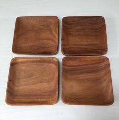 4pc Wood Salad Plates