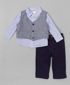 Look what I found on #zulily! Blue Vest Set - Infant #zulilyfinds
