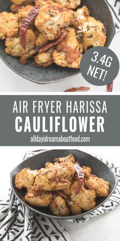 Spicy air fried cauliflower is a fabulous keto side dish or appetizer The heat of homemade harissa paste kicks this recipe into high gear Easy oven roasting instructions included Low Carb Side Dishes, Side Dish Recipes, Veggie Recipes, Low Carb Recipes, Cooking Recipes, Healthy Recipes, Meatless Recipes, Healthy Food, Healthy Eating